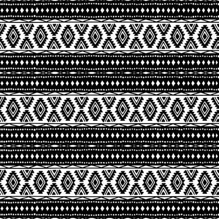 tribales: Seamless antecedentes étnicos. Blanco y negro. Ornamento hecho a mano. Motivos tribales. Patrón de rayas. Modelo geométrico.