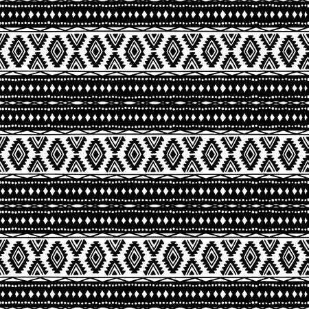 tribal style: Seamless ethnic background. Black and white. Ornament handmade. Tribal motifs. Striped pattern. Geometric pattern.
