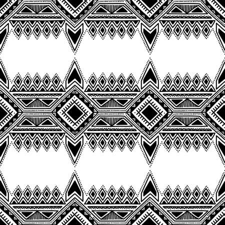 Black and white seamless ethnic background. Tribe motives. Striped vector illustration. Drawing by hand.