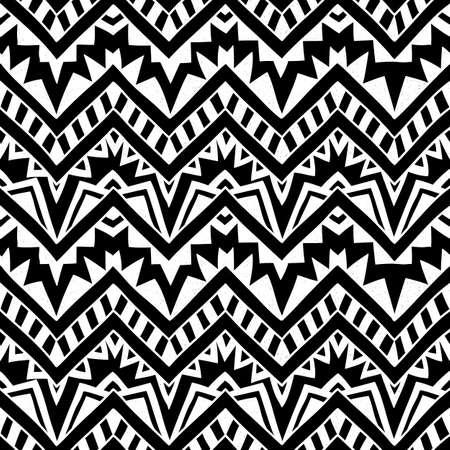 tribales: Fondo geométrico inconsútil. Ilustración vectorial blanco y negro. Hecho a mano. Ornamento étnico, motivos tribales.