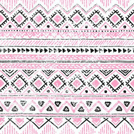 핑크, 흰색 및 검정색 색상에서 원활한 민족적인 백그라운드. 벡터 일러스트 레이 션.