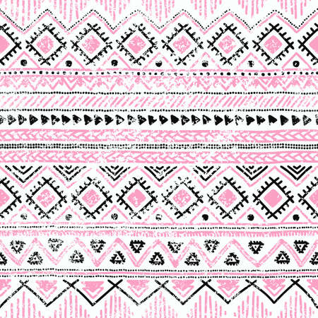 Seamless ethnic background in pink, white and black colors. Vector illustration texture. Çizim