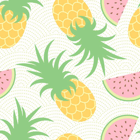 cartoon berries: Pineapple and watermelon. Summer pattern. Seamless background.