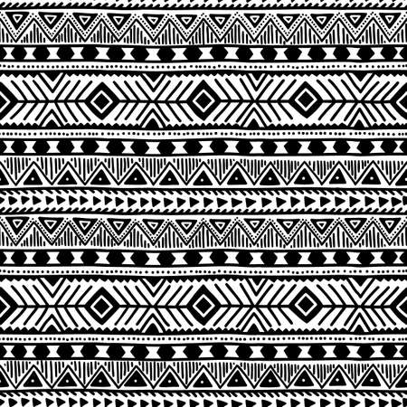 black and white line drawing: Black and white seamless ethnic background. Vector illustration. Drawing by hand.