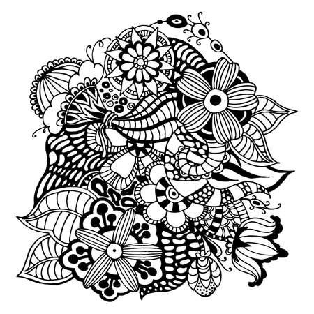 uneven edge: Zentangle vector floral pattern. Doodle decorative. Handmade. Uneven edge.