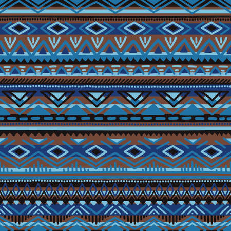 Ethnic seamless pattern. Blue, brown and black striped elements. 矢量图像