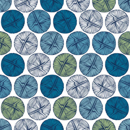 clew: Blue and green balls of yarn on a light background. Seamless pattern. Knitting