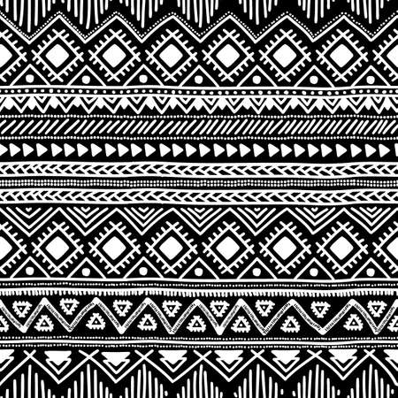 black american: Seamless ethnic pattern. Black and white vector illustration.