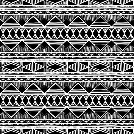 mexican black: Black and white seamless ethnic background.