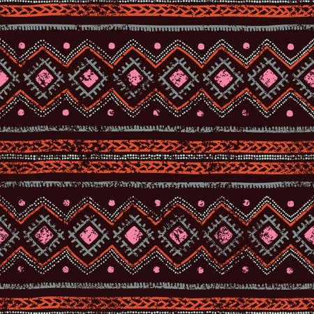 pink brown: Ethnic seamless background. Tribal geometric color pattern. Hand drawn. Vector illustration handmade. Pink, brown, orange.