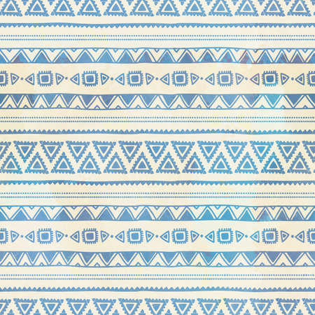 Seamless ethnic background. Vintage vector illustration. Blue stripes. Drawing by hand.