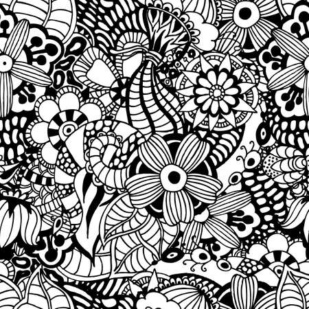 uneven edge: Zentangle vector floral background. Seamless pattern.Doodle decorative. Handmade. Uneven edge. Illustration