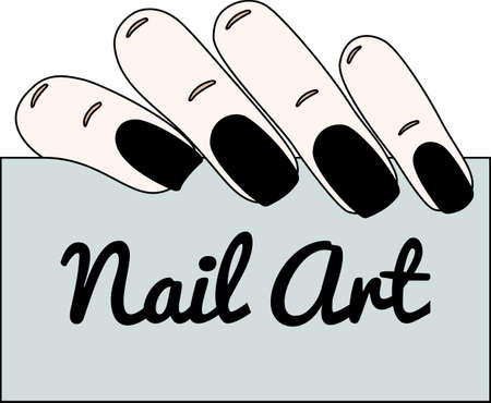 finger nails: Nail art. Gothic manicure. Vector illustration. Empty space for your text.