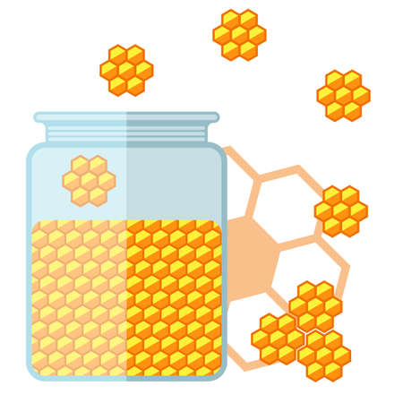 curative: Flat jar of honey. Bank with honey. Vector illustration.
