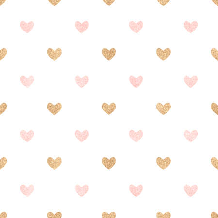 Gold and pink hearts on a white backdrop. Cute seamless background Valentine's Day. Decorating for a wedding, birthday.