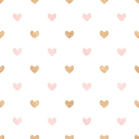 L'or et les coeurs roses sur un fond blanc. seamless background Mignon Saint Valentin. La décoration pour un mariage, anniversaire. Vecteurs