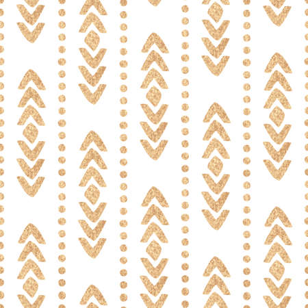 sweetheart: Seamless ethnic vector golden texture on a white background. Sweetheart vector illustration.