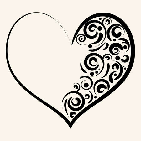 Beautiful silhouette of heart with swirls. Vector illustration. Vettoriali