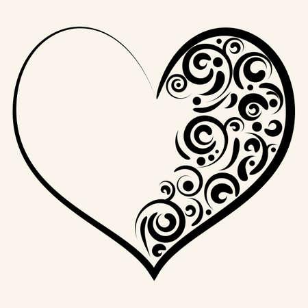 Mooi silhouet van het hart met wervelingen. Vector illustratie.