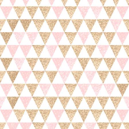 Naadloze geometrische achtergrond. Goud en roze driehoeken. Textuur. patroon.