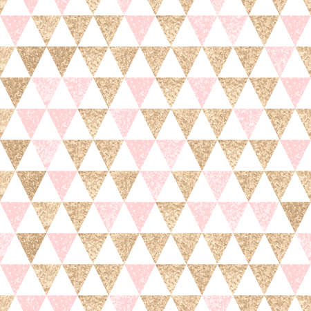 birthday backdrop: Seamless geometric abstract background. Gold and pink triangles. Texture. pattern. Illustration