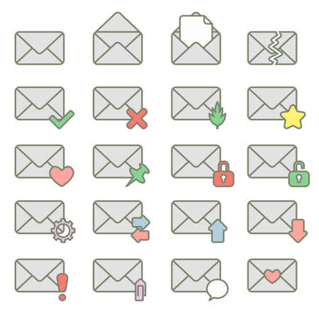 messages: Set of icons for messages. illustration.Cartoon style. Illustration