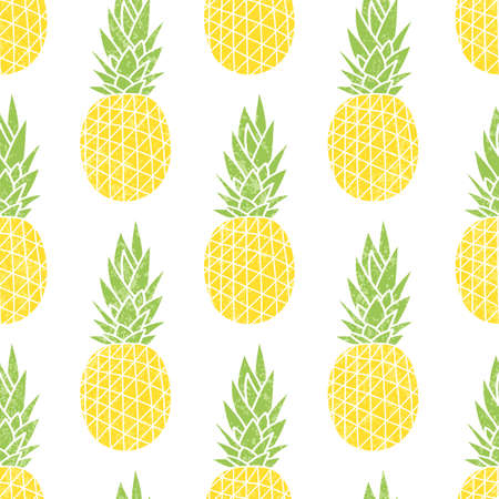 Cartoon pineapple on a white background. Simple background. Cute summer pattern. Seamless textile illustration in vintage style.
