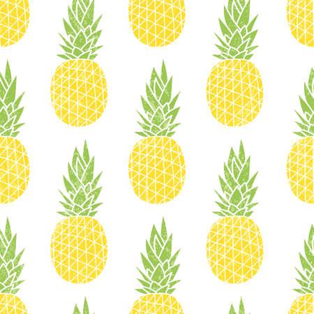 Cartoon Ananas auf einem weißen Hintergrund. Einfache Hintergrund. Nette Sommer-Muster. Nahtlose Textil-Illustration im Vintage-Stil.