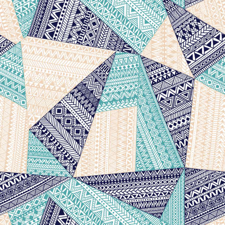 retro seamless pattern: Seamless tribal pattern. Geometric ornament drawn. Blue and white patchwork illustration. Illustration