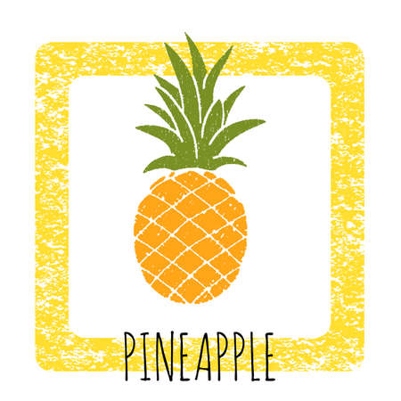 pineapple: Icon pineapple cute hand-drawn. illustration of a frame with a texture.