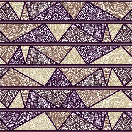 stripes: Seamless geometric pattern. Striped pattern with tribal motifs.