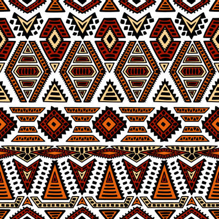Ethnic seamless pattern. Geometric ornament painted . Black, white and orange colors. Tribal motifs.