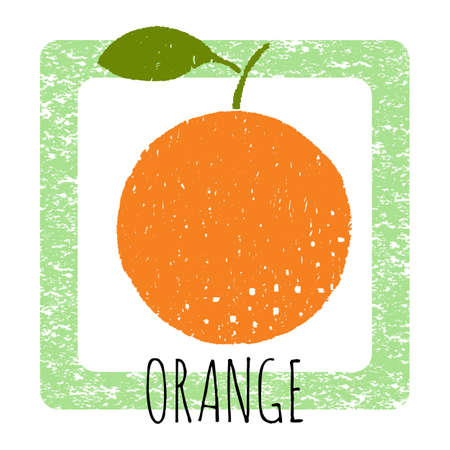 Icon juicy orange. Cute vector illustration with texture. Drawing by hand. Illustration