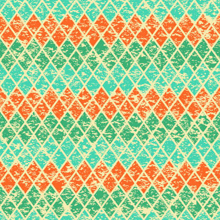 restored: Restored vintage background from color rhombs. Texture. Vector illustration.