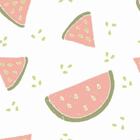 无缝可爱的西瓜图案。夏季矢量图。