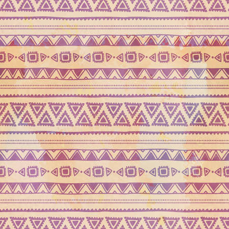 restored: Seamless ethnic pattern. Watercolor texture. Restored vintage background. Grunge. Purple and beige.