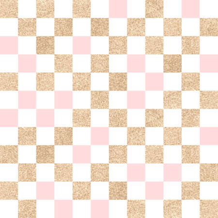 textile background: Seamless golden festive background. The geometric pattern of squares. Pink, white and yellow colors.