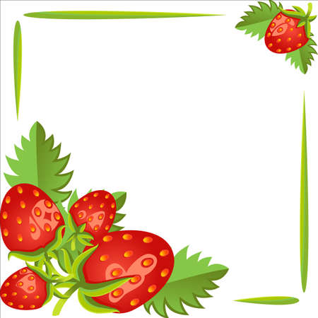 empty frame: Strawberries, beautiful frame. The poster, empty space for your text. White background. Illustration