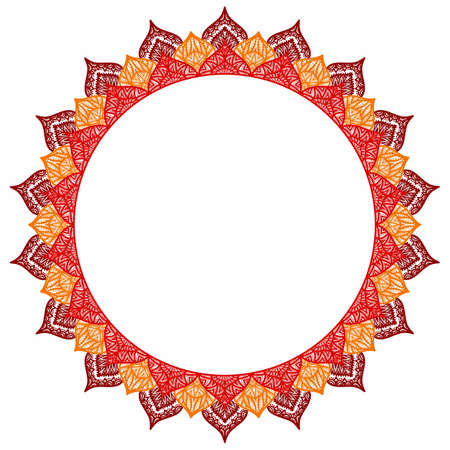 empty frame: Mandala - round frame for your text. Empty space, white background. Orange, yellow and brown colors. Ornament drawing by hand.
