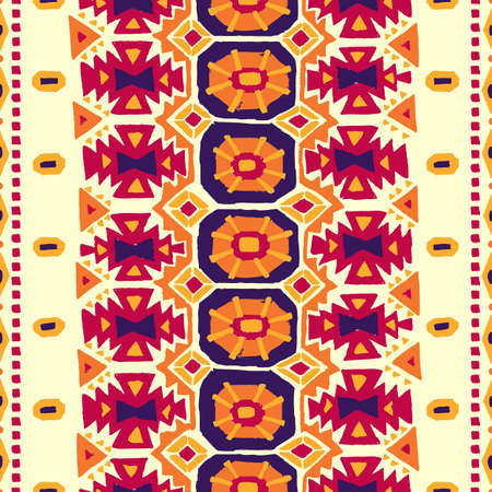 uneven edge: Seamless geometric background. Vintage carpet. Handmade. Burgundy, blue, orange and yellow colors. Weaving craft. Uneven edge. Ethnic and tribal motifs. Illustration