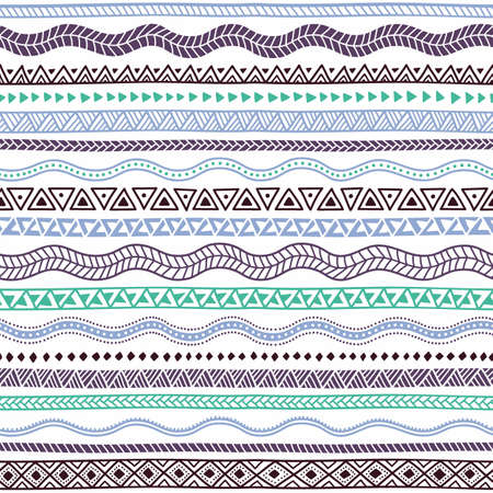 Geometric seamless pattern. Tribal and ethnic motifs. Blue, turquoise and brown elements on a white background. Wavy ornament drawing by hand.