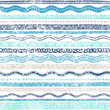 Summer seamless wavy pattern. Ethnic and tribal motifs. Striped ornament. Turquoise, blue, beige, aquamarine waves on a white background. Vintage old illustration in grunge style. Vector background.