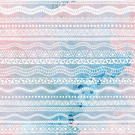 quartz: Seamless pattern. Geometric strip. Ethnic and tribal motifs. Watercolor texture. Rose quartz, blue and white colors. Illustration