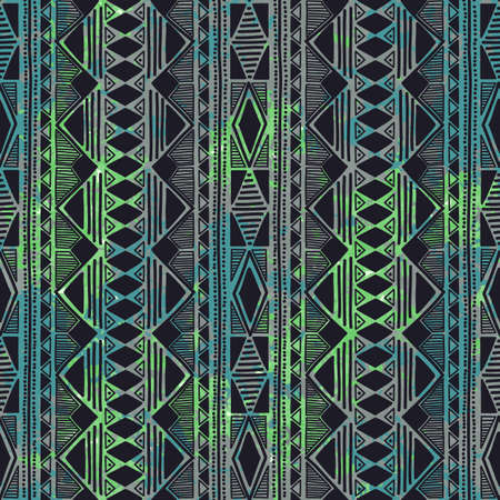 vertical orientation: Geometric seamless pattern. Vertical orientation. Green and blue colors, water spots. Grungy texture. Ethnic and tribal motifs. Vector illustration. Illustration