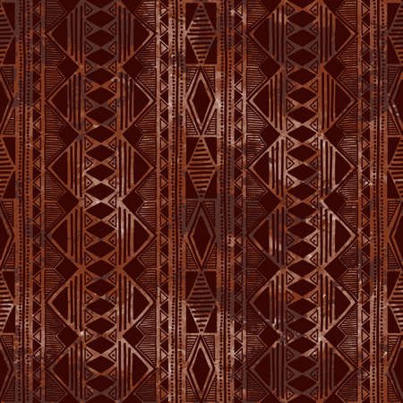 orientation: Geometric seamless pattern. Vertical orientation. Brown watercolor stains. Grungy texture. Ethnic and tribal motifs. Vector illustration. Illustration