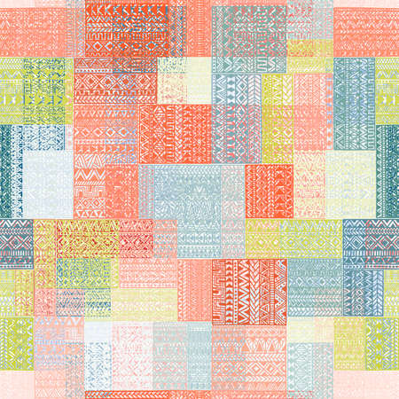 Seamless pattern in patchwork style. Multi-colored square patches. Grungy vintage geometric pattern. Ethnic and tribal motifs. Blue, white, green, pink and coral colors. Vector illustrations.