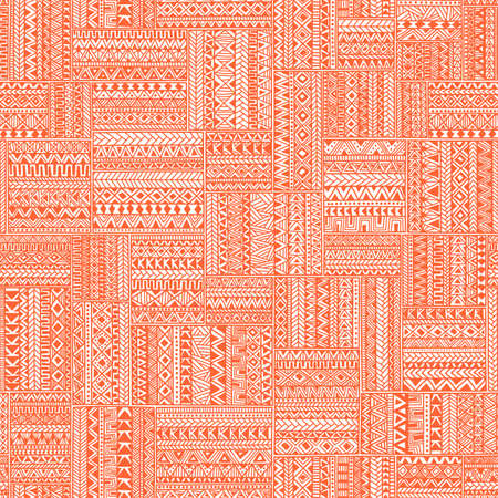white patches: Seamless geometric pattern in patchwork style. Square patches of mosaic. Ornament painted by hand. Ethnic and tribal elements. White, orange and coral colors. Vector illustration.