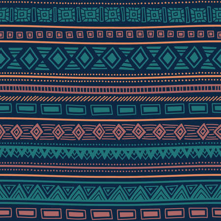 Seamless ethnic pattern. Tribal ornament. Striped geometric background drawing by hand.