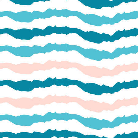 wavy fabric: Simple striped pattern. Horizontal wavy lines on a white background. Summer sea print fabric. Blue, pink and turquoise colors.