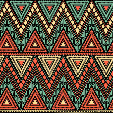 Seamless geometric pattern. Tribal and ethnic motifs. Horizontal stripes in the form of a zigzag. Black, orange, yellow and turquoise colors.